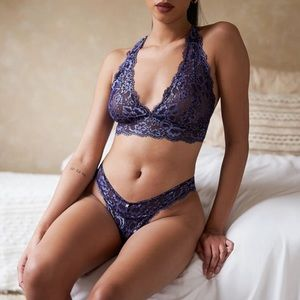 Savage X Lace For Days Deep Periwinkle Blue Set